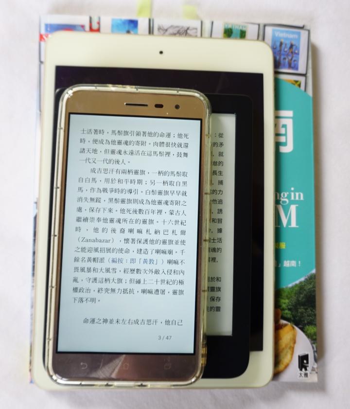 紙本書、iPad Mini、6 吋閱讀器、手機大小比較圖